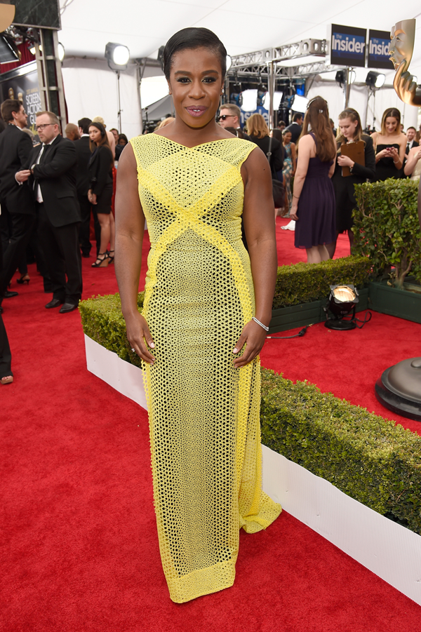 Uzo Aduba wears a yellow Angel Sanchez on the red carpet of the 2015 SAG awards wedding inspiration by Destination wedding planner, Mango Muse Events
