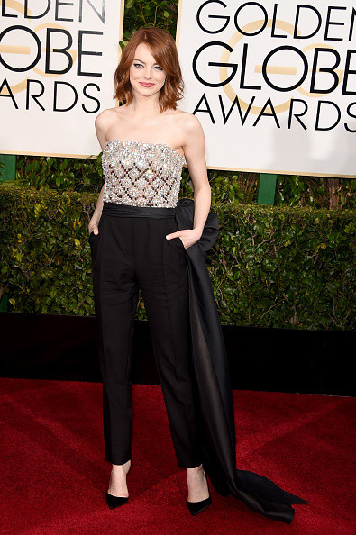Emma Stone wears a Lanvin jumpsuit on the red carpet of the 2015 Golden Globes wedding inspiration by destination wedding planner, Mango Muse Events