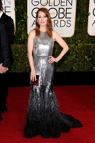 Julianne Moore wears a silver black ombre Givenchy Couture gown on the red carpet of the 2015 Golden Globes wedding inspiration by destination wedding planner, Mango Muse Events