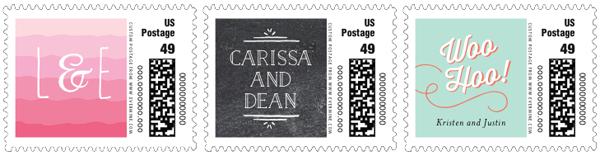 Custom wedding postage stamps.