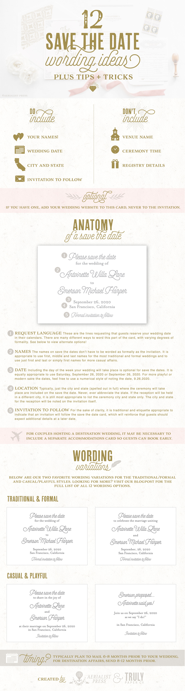12 Save the date wording ideas infographic by Aerialist Press.