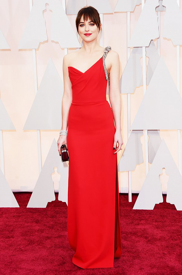 Dakota Johnson in red St. Laurent dress for 2015 Oscars wedding inspiration by destination wedding planner Mango Muse Events