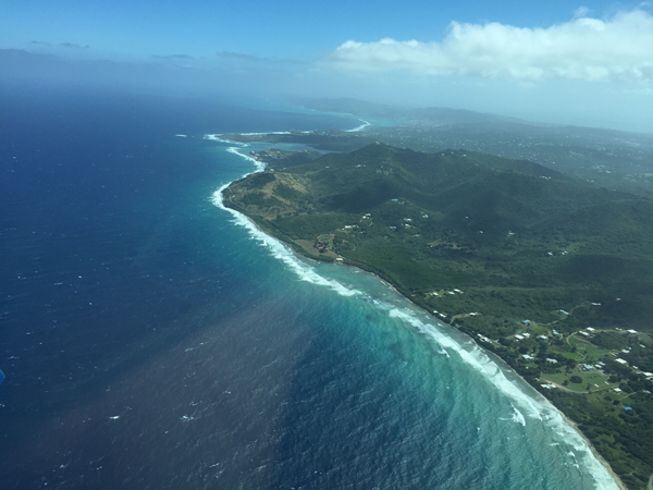 Flying over St. Croix, a Caribbean destination wedding location. Taken by Jamie Chang destination wedding planner of Mango Muse Events.