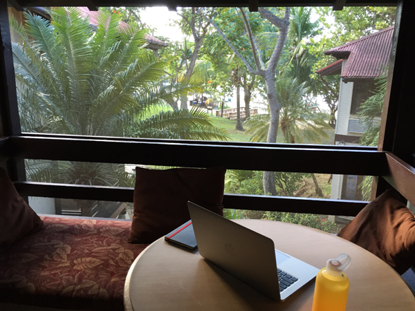 View from the hotel room at the Renaissance Carambola Resort, a Caribbean destination wedding venue.