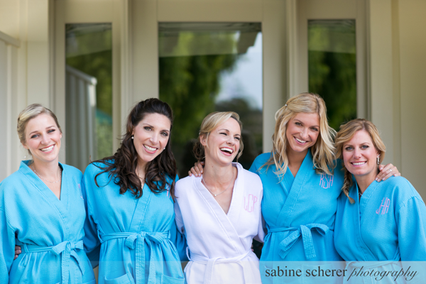 Bride and bridesmaids getting ready after a hair and makeup trial for a Carmel destination wedding by Jamie Chang destination wedding planner of Mango Muse Events.
