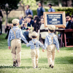 Ring bearers walking down the aisle at destination wedding at Cornerstone in Sonoma by Jamie Chang destination wedding planner of Mango Muse Events.