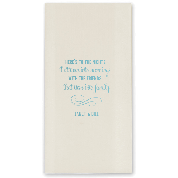 Customized bathroom hand towels for guests as special wedding details at a wedding.