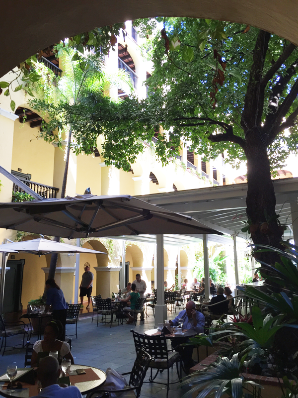 Outside patio of Hotel El Convento in Puerto Rico. Photo taken by Jamie Chang destination wedding planner of Mango Muse Events.