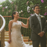 First look: a groom sees his bride for the first time at a destination wedding in Hawaii by Jamie Chang destination wedding planner of Mango Muse Events.