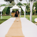 Setting up for a destination wedding in Hawaii. Event design by Jamie Chang of Mango Muse Events.