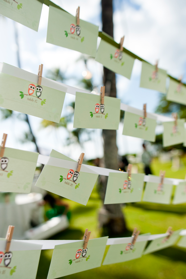 Owl seating cards as a part of the wedding stationery for a Hawaii wedding by Destination wedding planner, Mango Muse Events