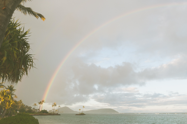Rainbow over the water in Hawaii.