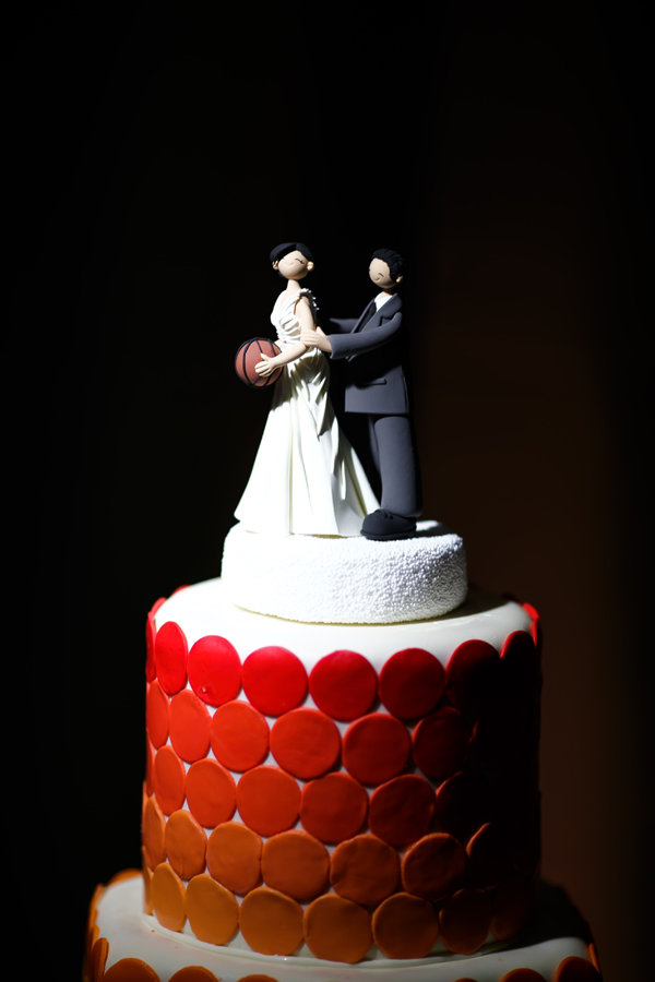 Basketball wedding cake topper. Event design by Jamie Chang of Mango Muse Events.