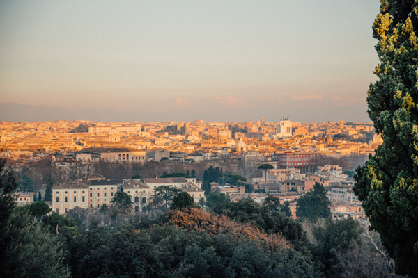 Sunset in Rome, Italy. A destination wedding location.