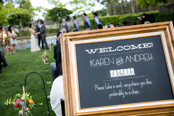Welcome sign at destination wedding in Sonoma. Event design by Jamie Chang of Mango Muse Events.