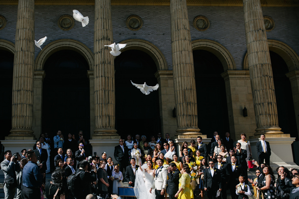 Dove release at a San Francisco wedding involving wedding guests by Destination Wedding Planner Jamie Chang