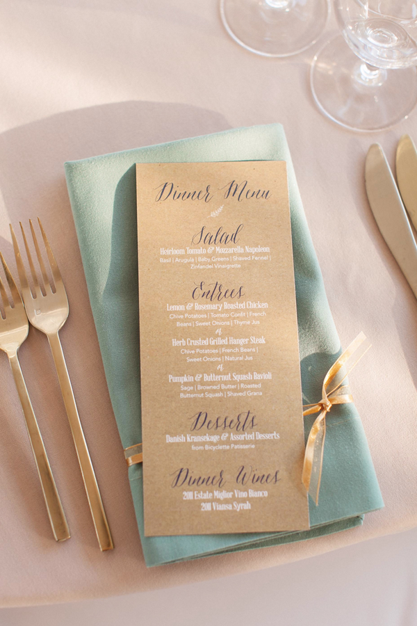 A beautiful wedding menu as a part of the wedding stationery for a Sonoma destination wedding by Destination wedding planner Mango Muse Events