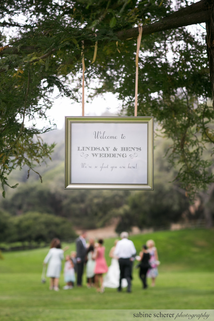 Carmel Destination Wedding Sign. Event Design by Jamie Chang of Mango Muse Events.