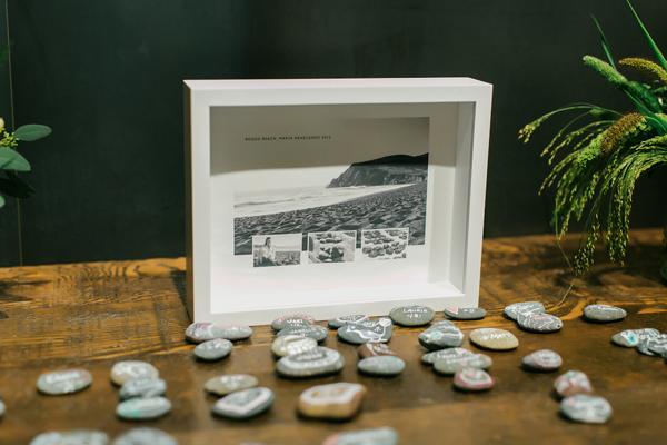 Wedding design using hand-painted rocks as seating cards for destination wedding in San Francisco. Event design by Jamie Chang destination wedding planner of Mango Muse Events.