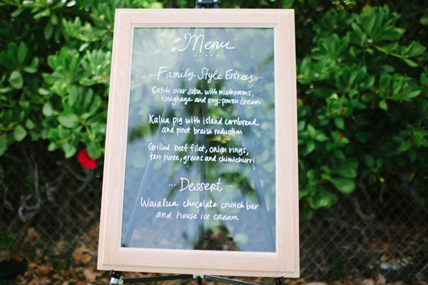 Wedding Menu sign at destination wedding in Hawaii. Event design by Jamie Chang of Mango Muse Events.