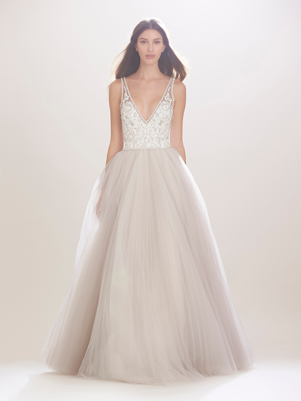 Carolina Herrera Bodice and Grey Tulle Bridal Gown Fall 2016