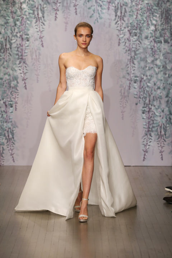 Monique Lhuillier Short bodice wedding dress Fall 2016