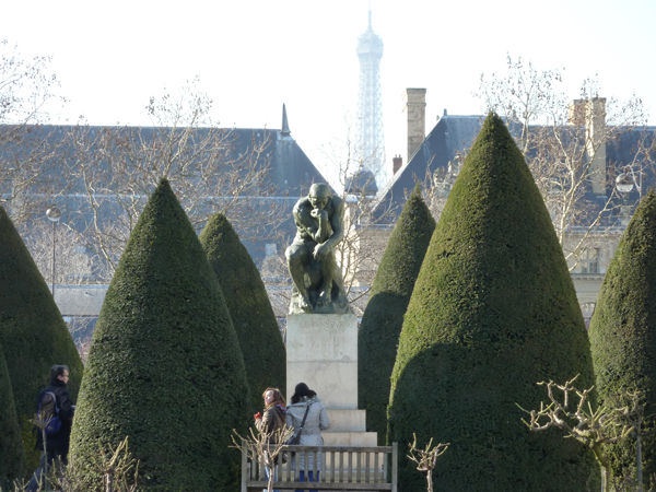 The Thinker sculpture in the outdoor gardens at the Rodin Museum and Mansion a Destination wedding venue in Paris