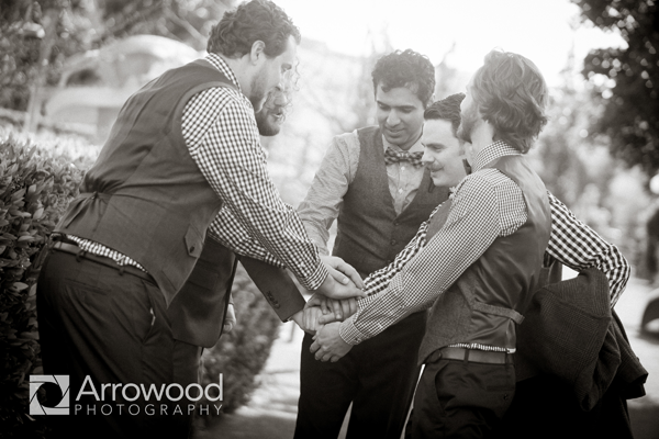 Groom and Groomsmen together at Cornerstone Winery in Sonoma at destination wedding coordinated by Jamie Chang of Mango Muse Events