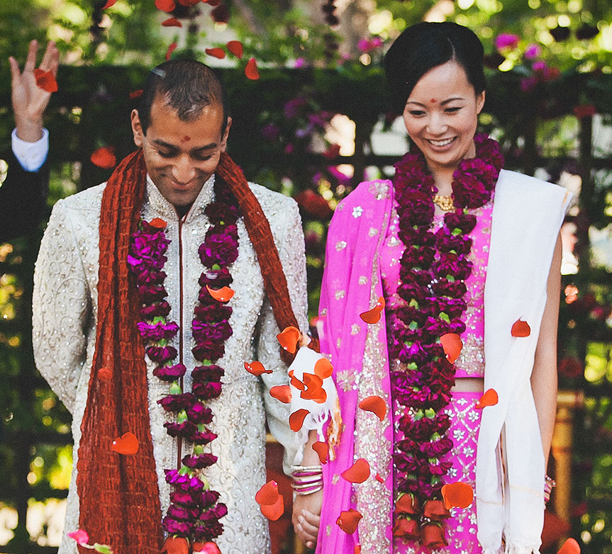 Bride and groom at their Hindu multicultural wedding by Destination wedding planner, Mango Muse Events
