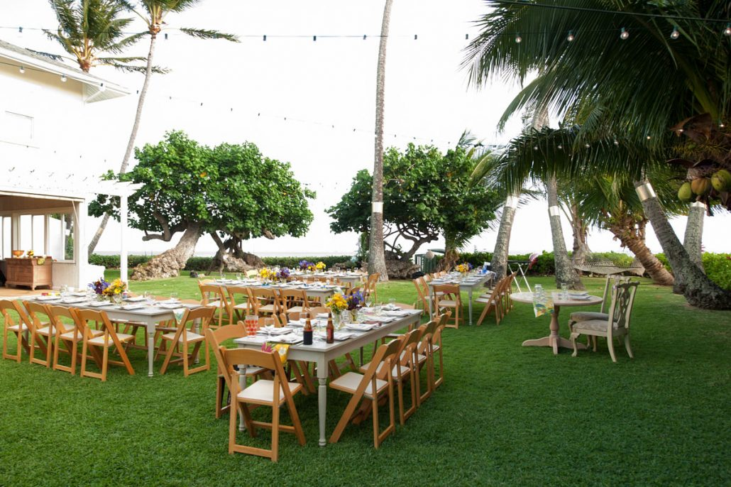 Outdoor Wedding Reception With Custom Tables At A Hawaii Destination By Planner Mango