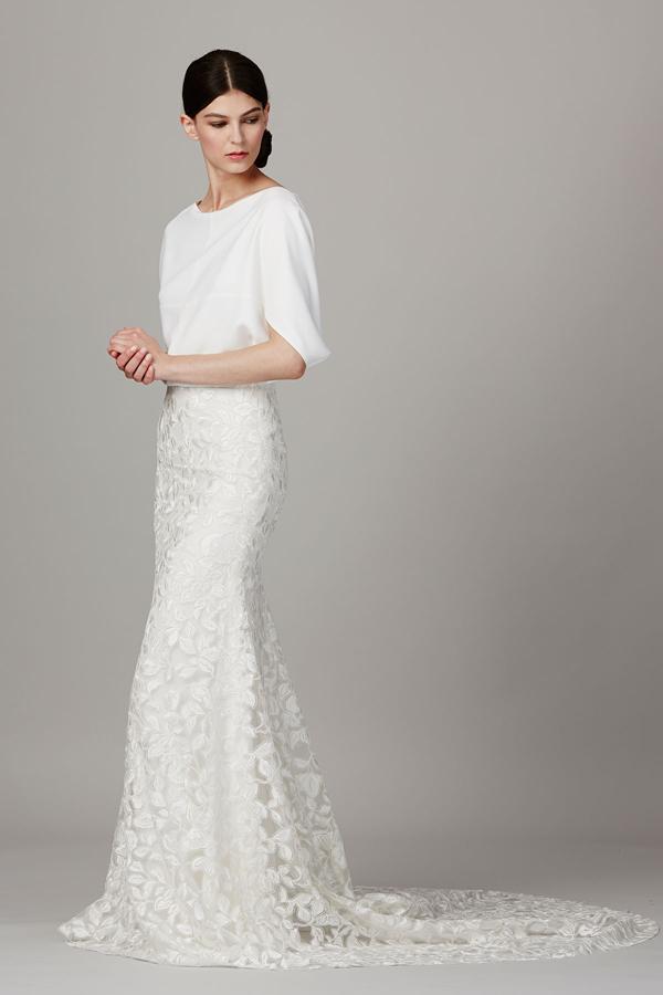 Two piece modern wedding dress by Lela Rose bridal from Bridal Fashion Week Best wedding dresses picked by Destination wedding planner, Mango Muse Events