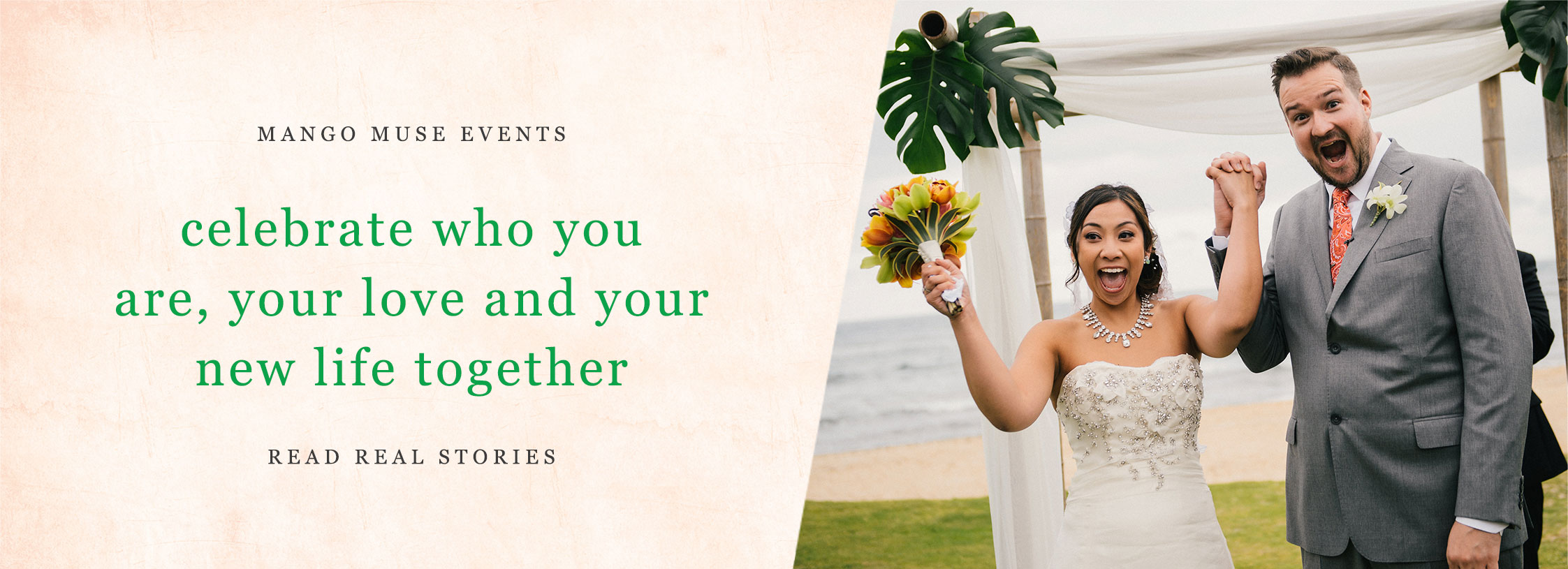 Bride and groom just married wedding ceremony in Hawaii by Destination wedding planner Mango Muse Events