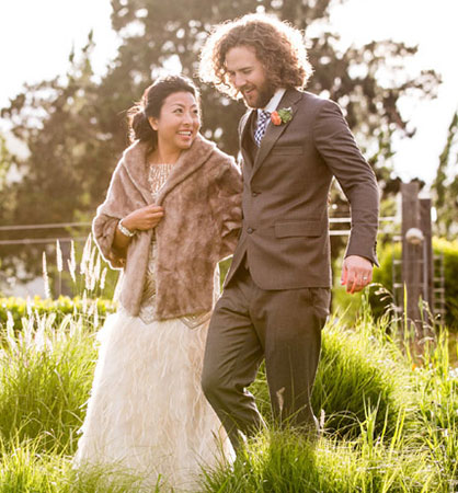 Bride and groom walking at their Sonoma destination wedding by Destination wedding planner Mango Muse Events