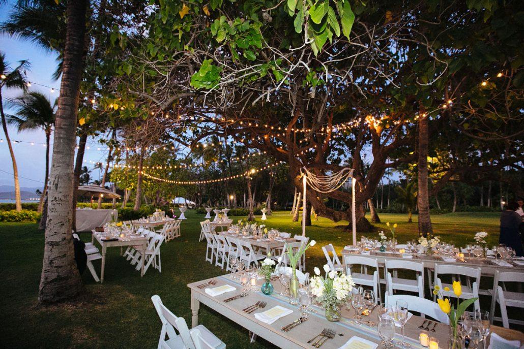 Outdoor Wedding Reception Under String Lights At A Hawaii Destination By Planner Mango
