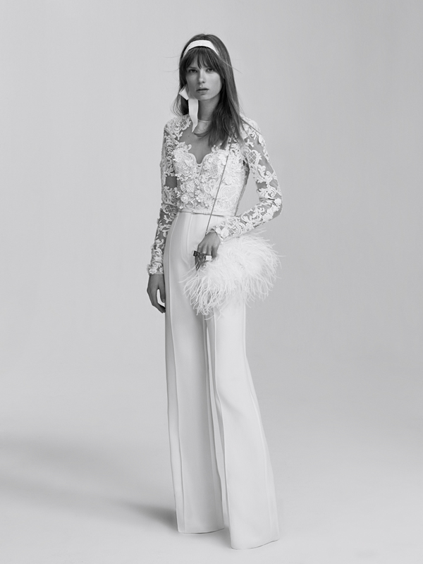 White applique pantsuit by Elie Saab a non-traditional wedding dress idea