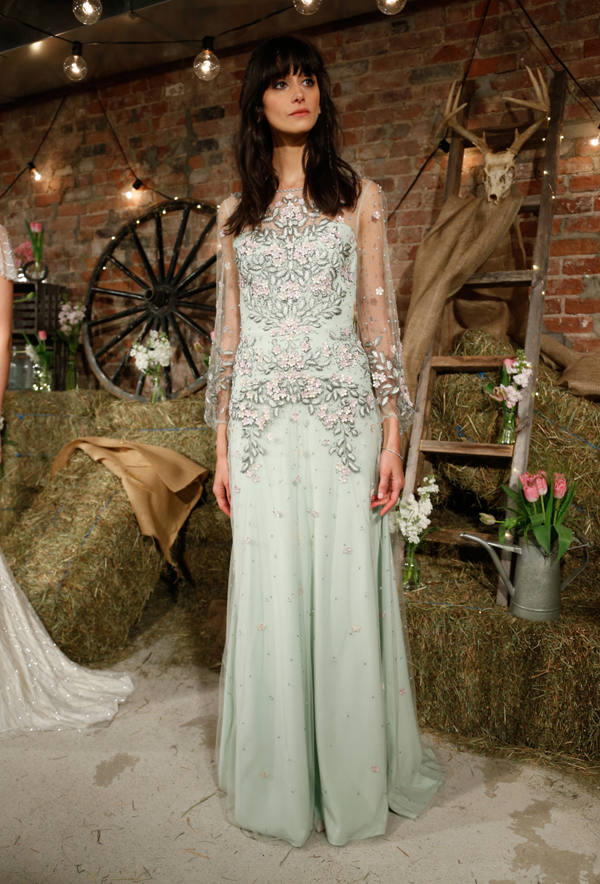 Green wedding dress by Jenny Packham, a non-traditional wedding dress idea