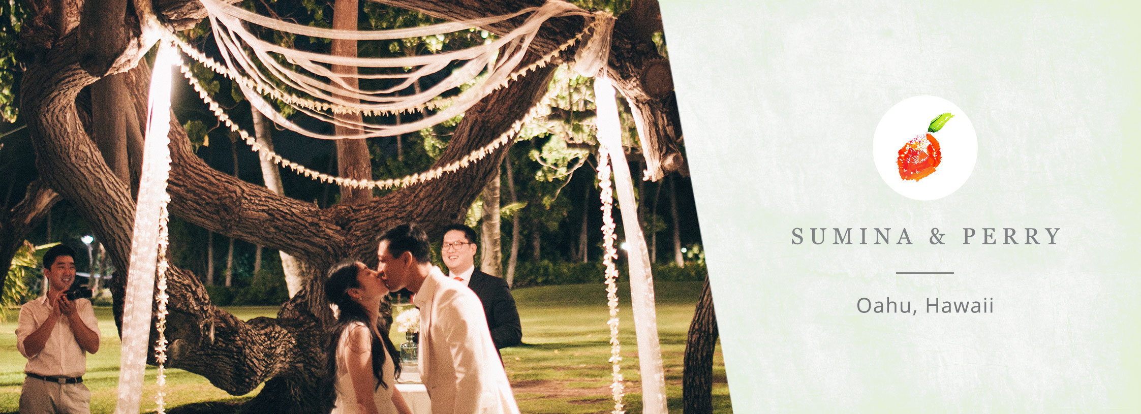 Night wedding ceremony kiss at a Hawaii destination wedding by Destination wedding planner Mango Muse Events