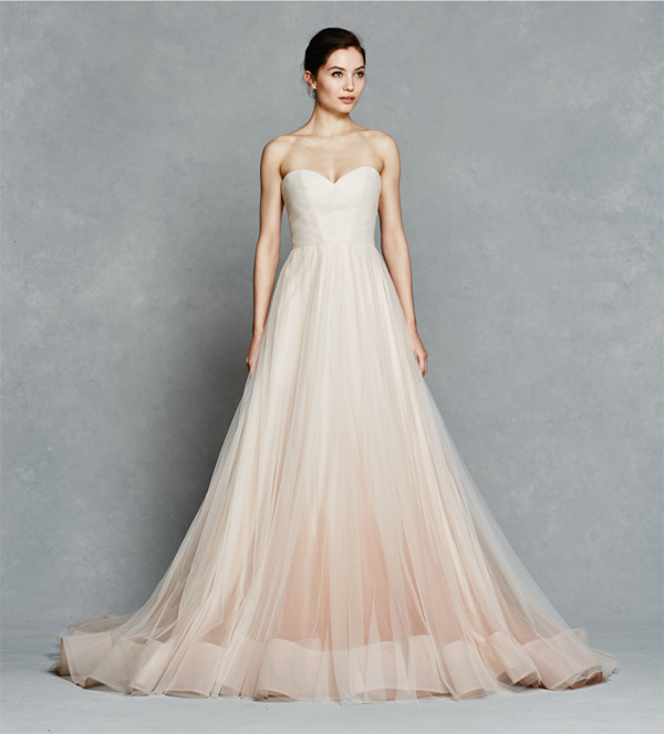 Peach wedding dress by Kelly Faetanini, a non-traditional wedding dress idea