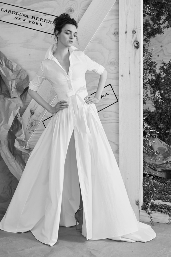 shirt dress wedding dress by Carolina Herrera, a non-traditional wedding dress idea