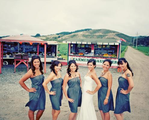 Bridesmaids and bride at a Half Moon Bay wedding by Destination wedding planner, Mango Muse Events