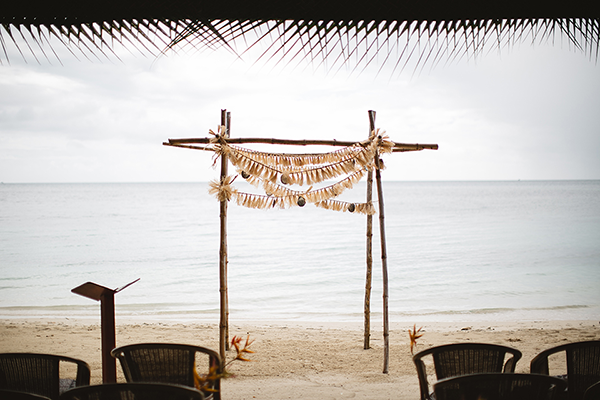 Ceremony setup at a destination wedding in Fiji, a beach destination wedding location