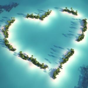 Islands forming a heart in Maldives, a beach destination wedding location