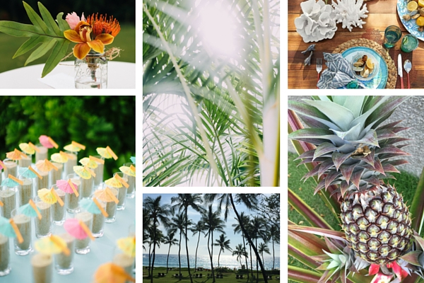 Tropical summer party inspiration board by Destination wedding planner Mango Muse Events