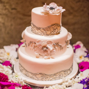 White and silver lace fondant wedding cake for a Sonoma destination wedding by Destination wedding planner, Mango Muse Events