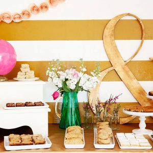 A cute dessert bar created by wedding baker and designer Delish Designs