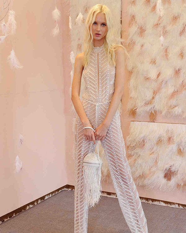 Beaded jumpsuit from the Galia Lahav bridal fashion week Fall 2017 collection