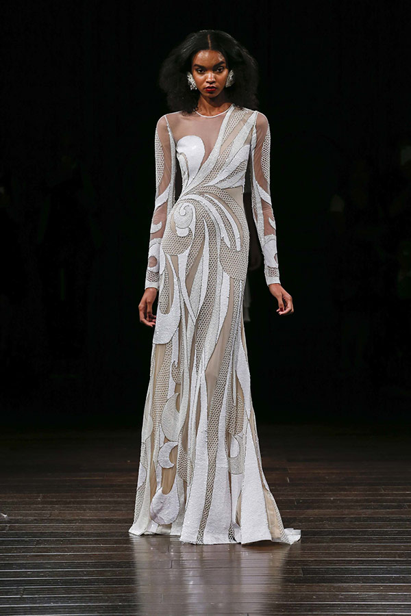 Graphic wedding dress from the Naeem Khan bridal fashion week Fall 2017 collection