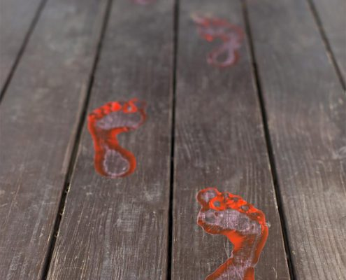 Bloody footprints as a part of 12 Halloween decor ideas