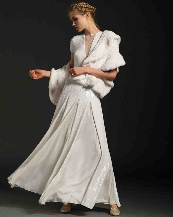 Jacket pleated wedding dress from the Temperley London bridal fashion week Fall 2017 collection