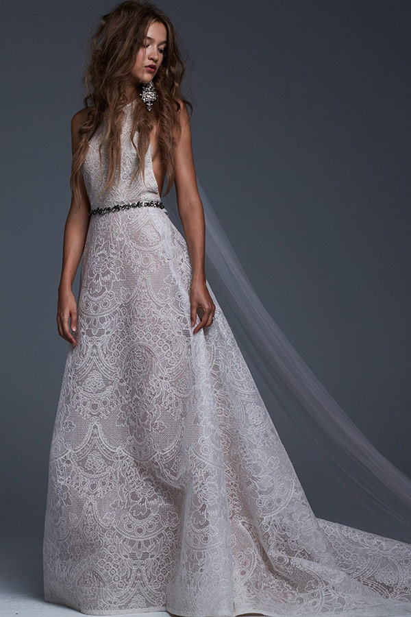 Lace halter wedding dress from the Vera Wang bridal fashion week Fall 2017 collection
